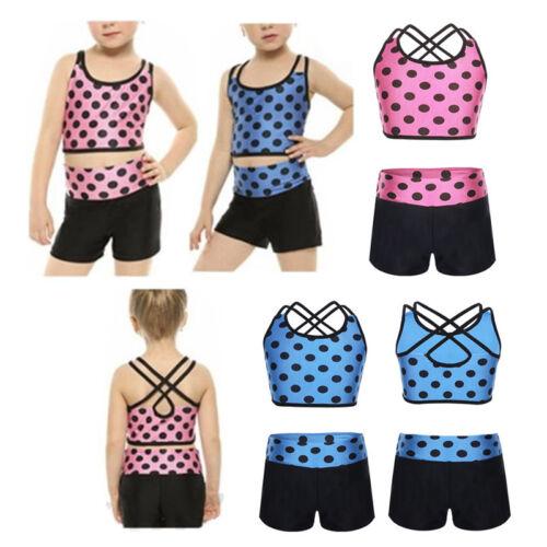2PCS Girls Kids Tankini Set Polka Dots Swimsuit Ballet Dance Gymnastics Outfit