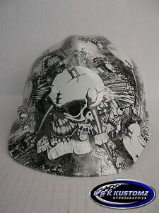 new custom msa v gard short brim hard hat w fas trac ratchet skull tattoo print ebay. Black Bedroom Furniture Sets. Home Design Ideas