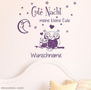wandtattoo wunschname gute nacht kleine eule sterne kinderzimmer baby spr che 6g ebay. Black Bedroom Furniture Sets. Home Design Ideas