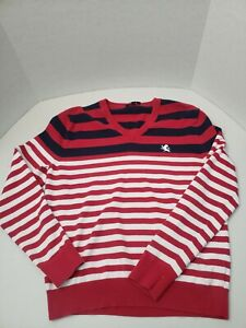 Men-039-s-Express-Long-Sleeve-V-Neck-Sweater-Size-Medium-M-Red-Blue-White-Striped