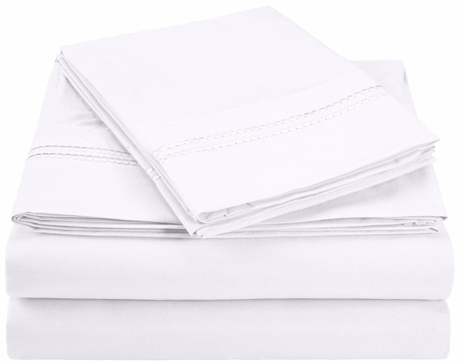 WRINKLE FREE SHEET SET SOLID-2 LINE EMBROIDERY-WHITE