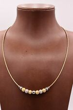 "17"" Italian Ball Satin Shiny Wheat Chain Necklace 14K Yellow Gold Clad Silver"