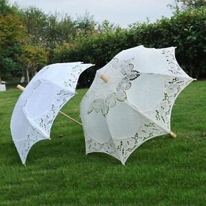 Lovely Women's Handmade Lace Parasol Wedding Bridal Decor Umbrella Anti-UV