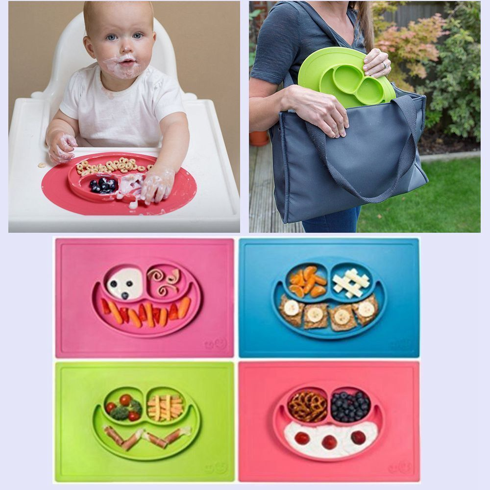 One-Piece Silicone Placemat Food Plate Mat Baby Toddler Child Kids Divided Bowl 2
