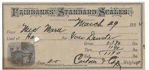 1884 James H.P. Vandewater Fairbands Standard Scales Marblehead Mass