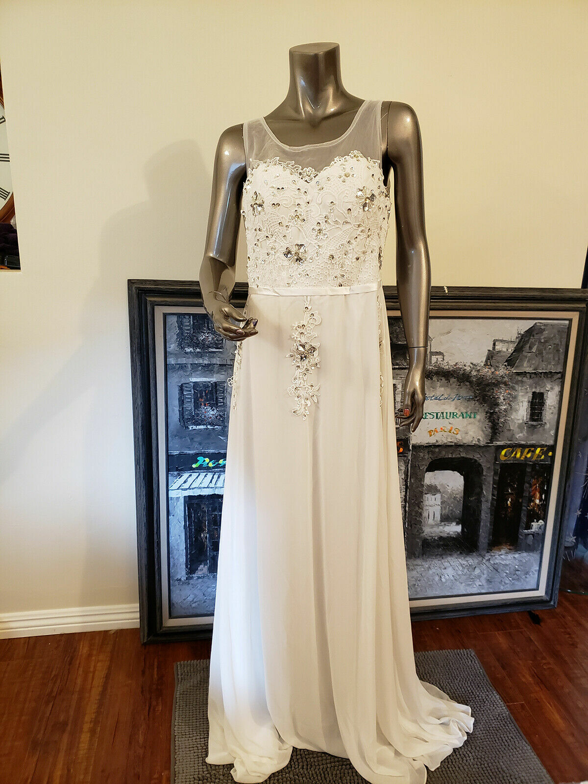 Applique Beaded Chiffon Dress For Mother of the Bride New Size 8