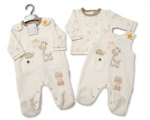8e8c96c34 Premature Baby Boy Girl Dungarees top Velour cream outfit Tiny Baby ...