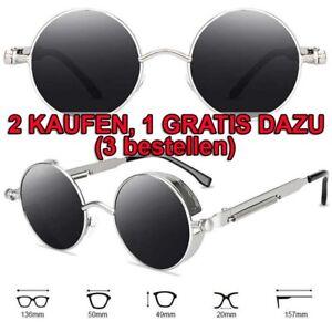 Vintage Steampunk Sonnenbrille Retro Hippie Runde Brillen Rundbrille Sunglasses