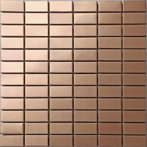 Image Is Loading Stainless Steel Brushed Copper Effect Mosaic Wall Tiles