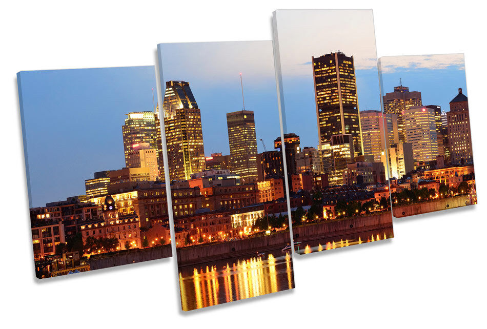 Montreal City Quebec Skyline MULTI CANVAS WALL ART Boxed Framed