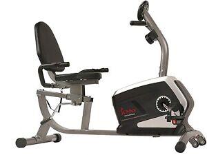 Sunny Health Fitness Magnetic Recumbent Exercise Bike - Black