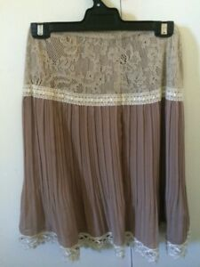 Skirt-Vintage-Dusty-pink-chiffon-pleated-with-cream-lace-detail-Beige-size-S