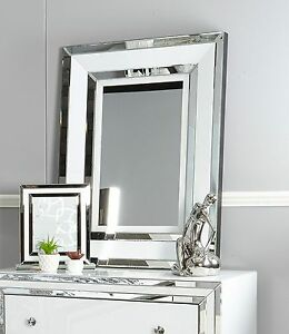 Image Is Loading Madison White Gl With Mirrored Trim Large Rectangle