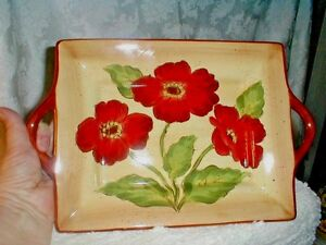 FRENCH-Floral-034-LA-PROVENCE-POPPY-034-Hand-Painted-PLATTER-Multi-Color-CERAMIC