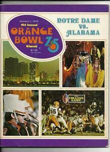 1975 Orange Bowl Game Progarm Notre Dame Alabama