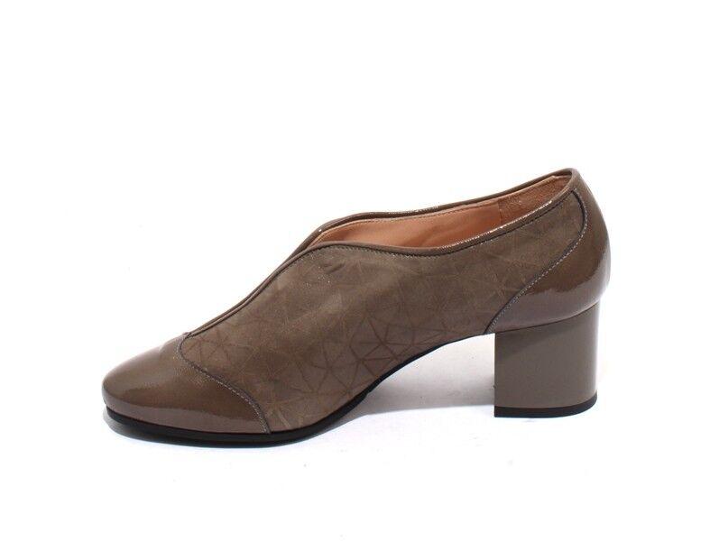 Isabelle Isabelle Isabelle 25 gris Topo Gamuza Cuero Patente Elástico Botines Tacón Zapatos 39 US 9 2ec6ba