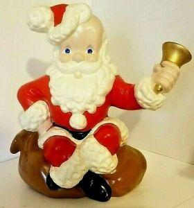 "VINTAGE Atlantic Mold CERAMIC Santa Claus Sitting on Sack Ringing Bell 11"""