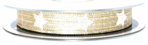 SCHLEIFENBAND 20m x 15mm Gold weiß Sterne Dekoband Geschenkband X666 1m//0,15€