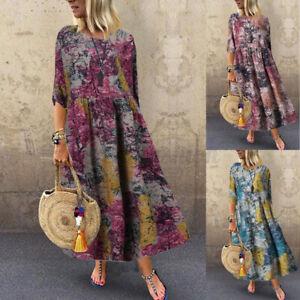 Oversize-Femme-100-coton-Manche-3-4-Imprime-Floral-Casual-lache-Robe-Dresse