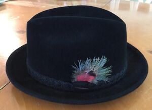Image is loading Stetson-Black-Feathered-The-Sovereign-Size-7-Men- ecc7fabd94c