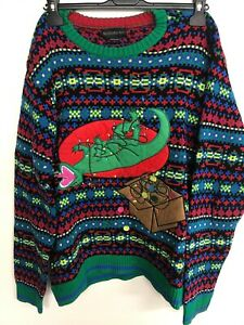 T Rex Ugly Christmas Sweater.Details About Blizzard Bay Men S Roflsauras T Rex Ugly Christmas Sweater Large