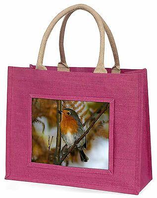 Herbst Rotkehlchen Rot Brust große rosa Einkaufstasche Weihnachtsgeschenk IDE,