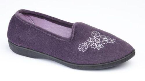 Womens Zedzzz Black Purple Velour Embroidered Flower Slippers