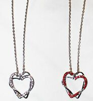 Rhinestone Heart Shape Pendant Necklace With Silver Chain, Red Or Silver