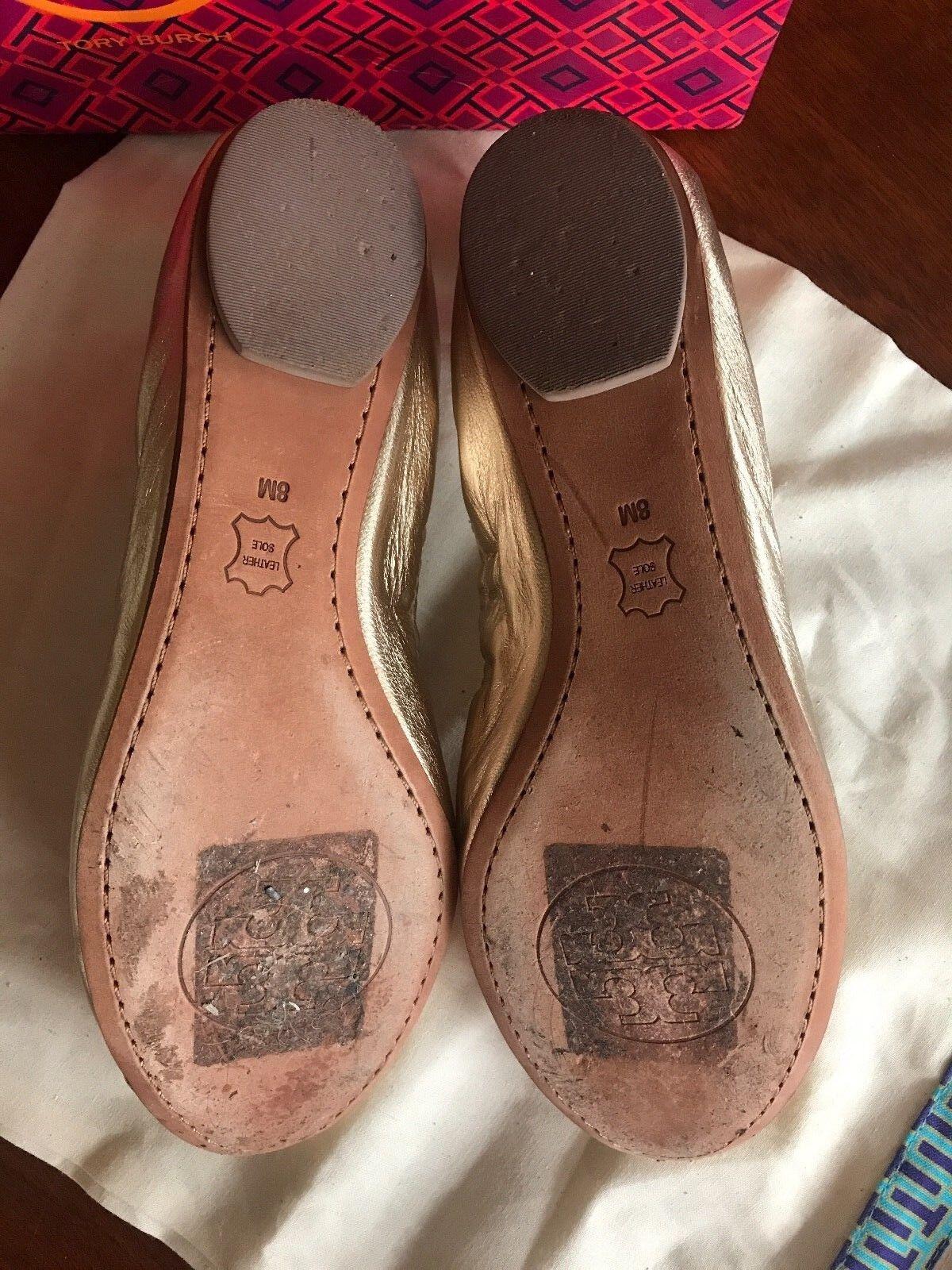 Tory Burch Cap Toe Ballet Cami Metallic Flats shoes shoes shoes Leather gold Size 8 32d3bb
