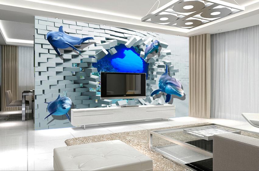 3D Ziegelstein Höhle Delfin 86 Tapete Wandgemälde Tapete Tapeten Bild Familie DE