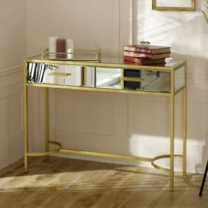 Large-gold-frame-clear-mirrore-glass-console-table-vintage-luxe-living-room-hall