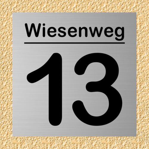 Wunschtext Hausnummer Hausnummern in Aluminium eloxiert verschiedene Größen