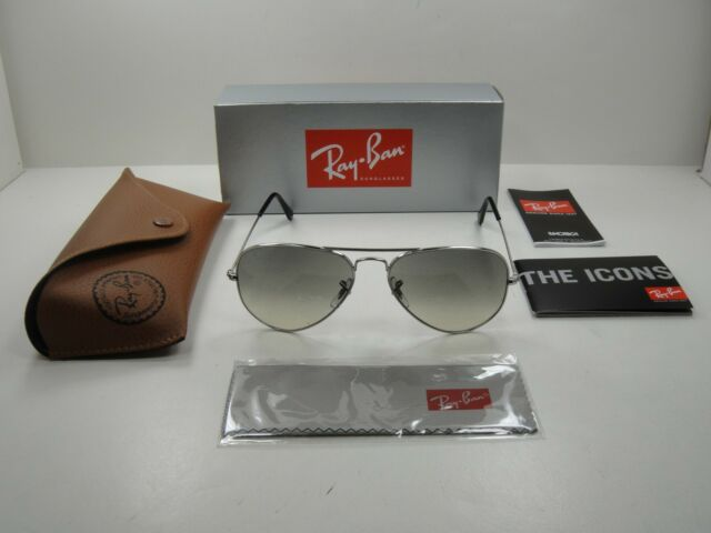 RAY-BAN AVIATOR SUNGLASSES RB3025 003/32 SILVER FRAME/GRAY GRADIENT LENS 58MM