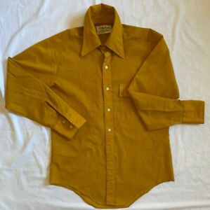 MUSTARD 1970/'s Vintage Button Down Geometric Shirt with Yellow Dots size Medium