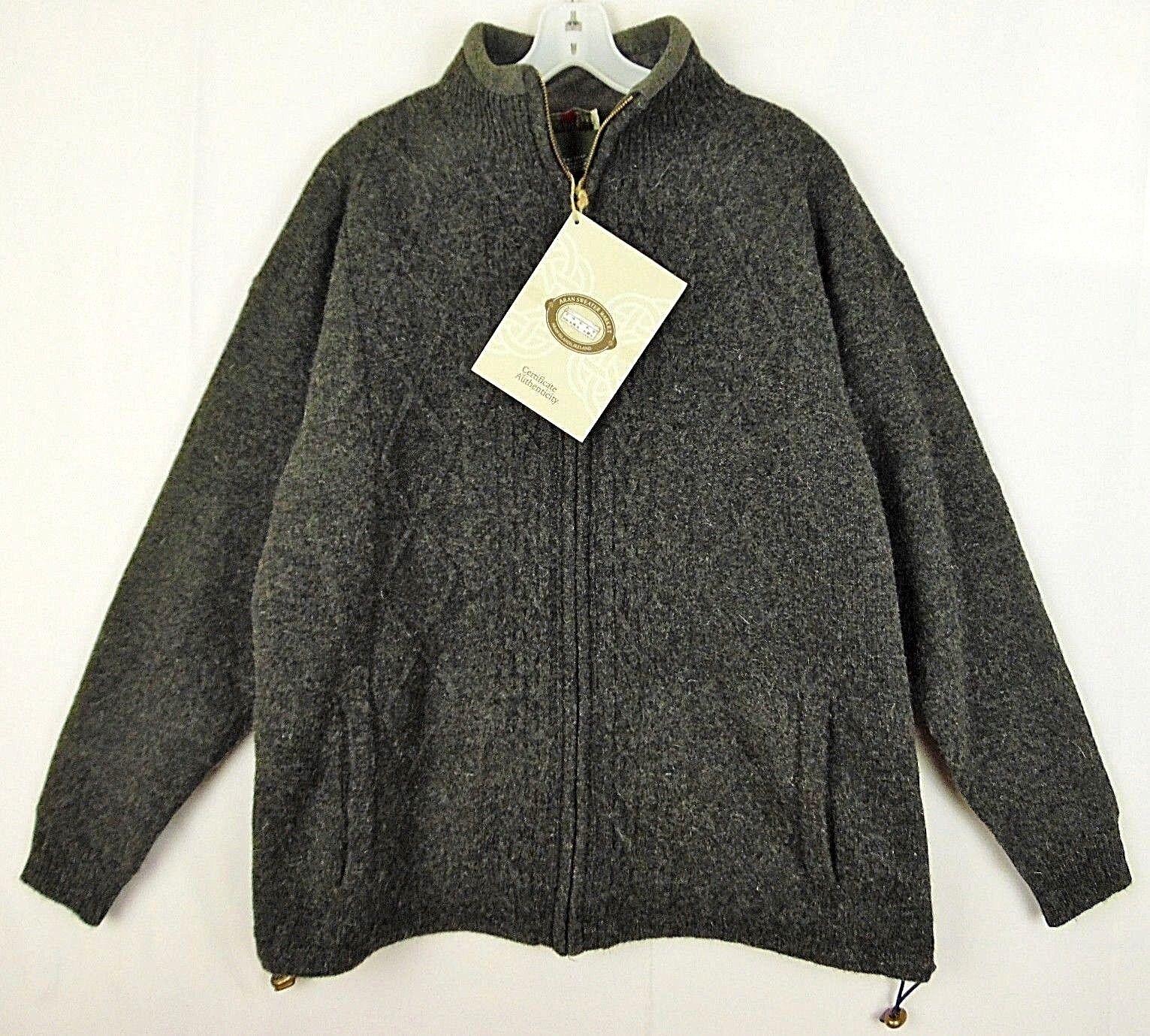 Carraig Donn Ireland  Herren M grau Wool Lined Fisherman Sweater Coat NEW