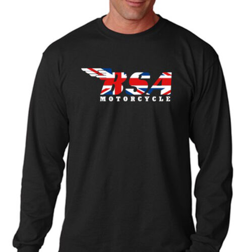 BSA MOTORCYCLE Union Jack Logo Racing Men/'s Long Sleeve Black T-Shirt Size S-3XL