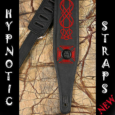 HYPNOTIC STRAPS IRON CROSS BLACK RED EMBROIDERY LEATHER GUITAR BASS STRAP BELT