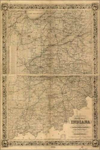 Poster, Many Sizes; Colton'S Map Of The State Of Indiana 1860