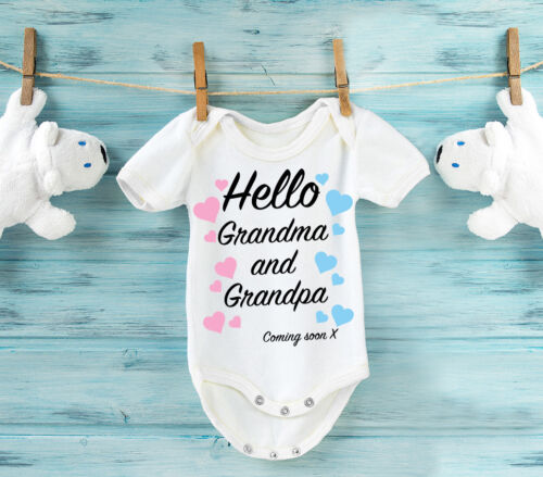 Hello Grandma and Grandpa Pregnancy reveal to Grandparents white baby grow
