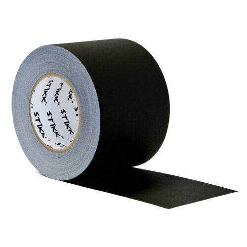 "4/"" x 60 Yard 96mm x 55 m 11 mil STIKK Black Gaffers Tape No Residue Cloth Matte"