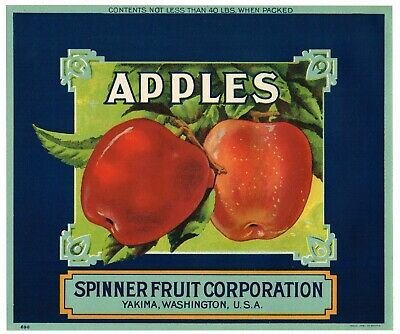 "/""REPETITION APPLES/"" FUN ORIGINAL 1930s YAKIMA WASHINGTON APPLE FRUIT CRATE LABEL"