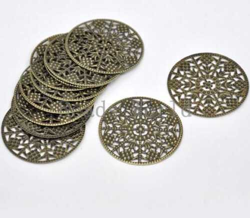 30 Pcs Bronze Tone Filigree Round Wraps Connector Embellishments Findings 48mm