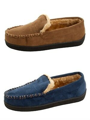 a1069ca7f2e691 Details about MENS DR KELLER NAVY TAN FAUX SUEDE MOCCASIN SLIPPERS FAUX FUR  LINED LOAFERS SIZE