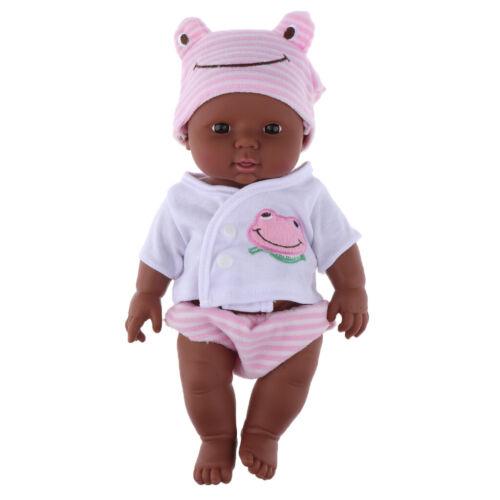 12 Zoll Afroamerikaner Babypuppe mit Kleidungsset Neugeborenes Baby schwarze