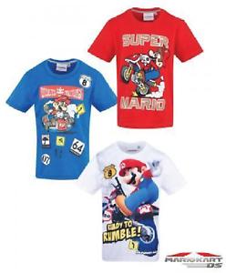 Boys Kids Children Super Mario Short Sleeve Tee T Shirt Top age 3-10 years