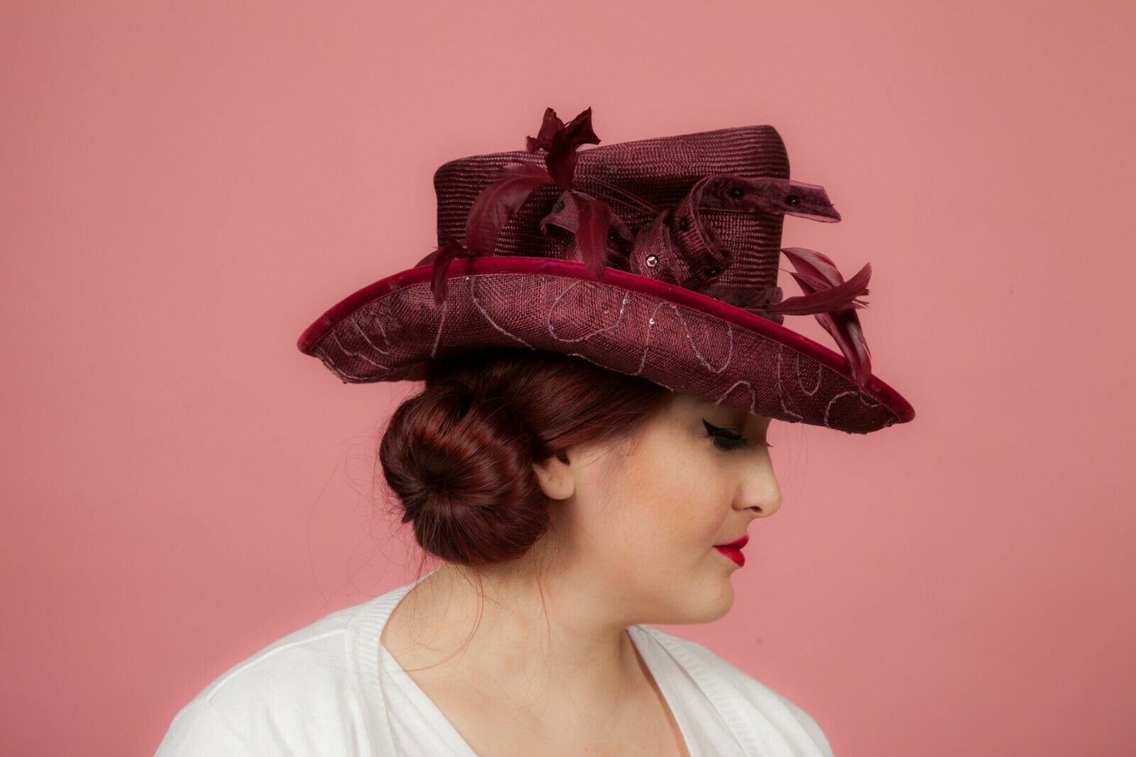 Ladies claret red sequin beaded feathered formal hat by My Hat