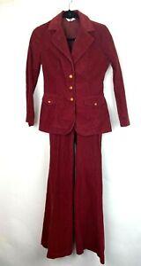 VTG-Levi-039-s-Women-039-s70s-3-Piece-Maroon-Corduroy-Suit-Wide-Leg-Combo-SZ-S