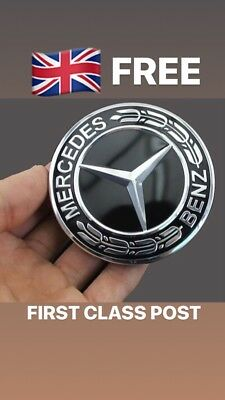 Affidabile Mercedes Benz 57mm Nero Corona Piatta Cofano Badge Emblema Un C E S Class Amg Mb1-