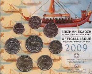 RARE DE 1CENT A 2 € 8 PIECES OFFICIEL GRECE  2009* UNC-Neuve
