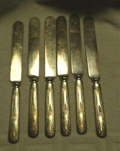 6-1847-Rogers-VINTAGE-Grape-Pattern-1904-Silverplate-Blunt-Blade-Knives-9-3-8-034